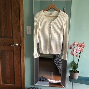 Talbots Petites Cream Button-up Cardigan Sweater